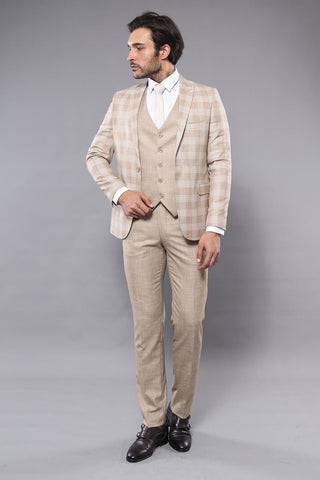 Men's Checkered Beige Formal Suit Set