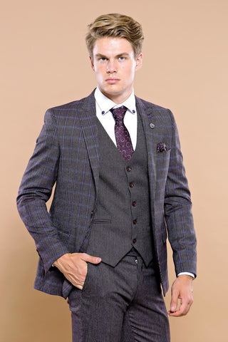 Image of Men's Checkered Black Slim Fit Formal Suit Set