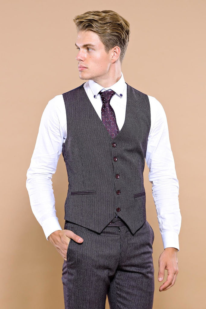 Men's Checkered Black Slim Fit Formal Suit Set