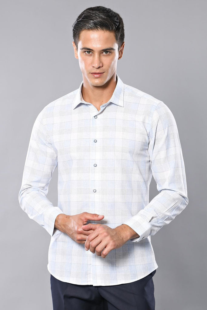 Men's Plaid Ice Blue Shirt