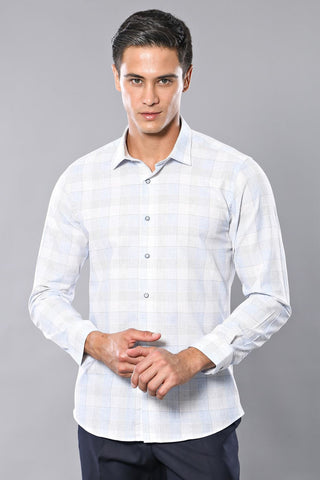 Image of Men's Plaid Ice Blue Shirt