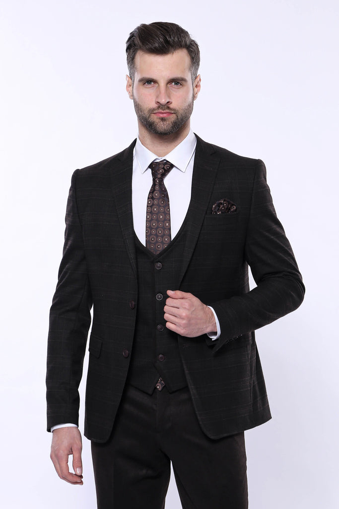 Men's Plaid Winter 3 Piece Formal Suit