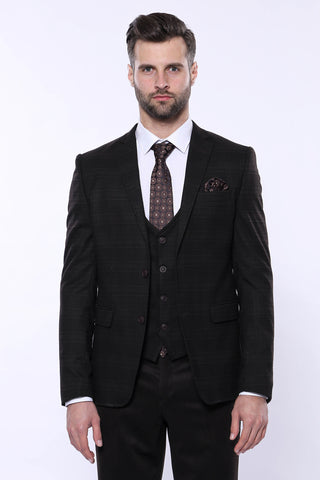 Image of Men's Plaid Winter 3 Piece Formal Suit