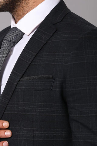 Men's Checkered Black Winter Formal Suit Set