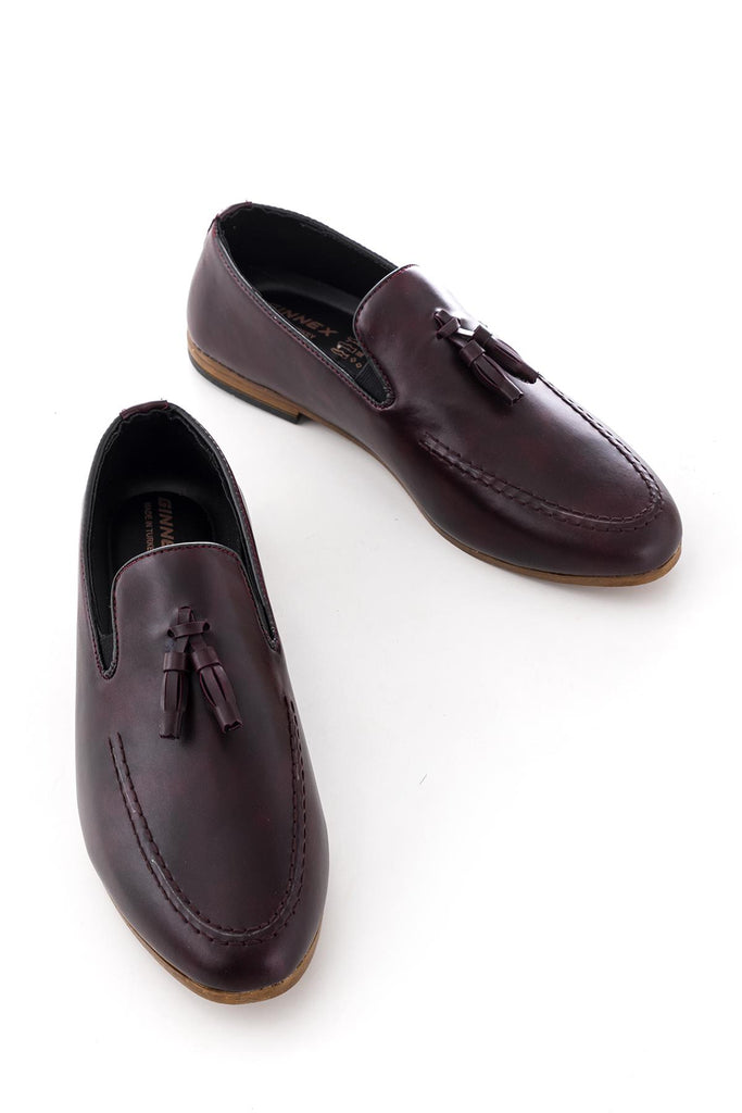 Men's Claret Red Casual Leather Shoes