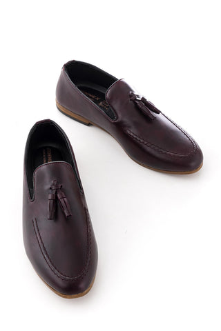 Image of Men's Claret Red Casual Leather Shoes