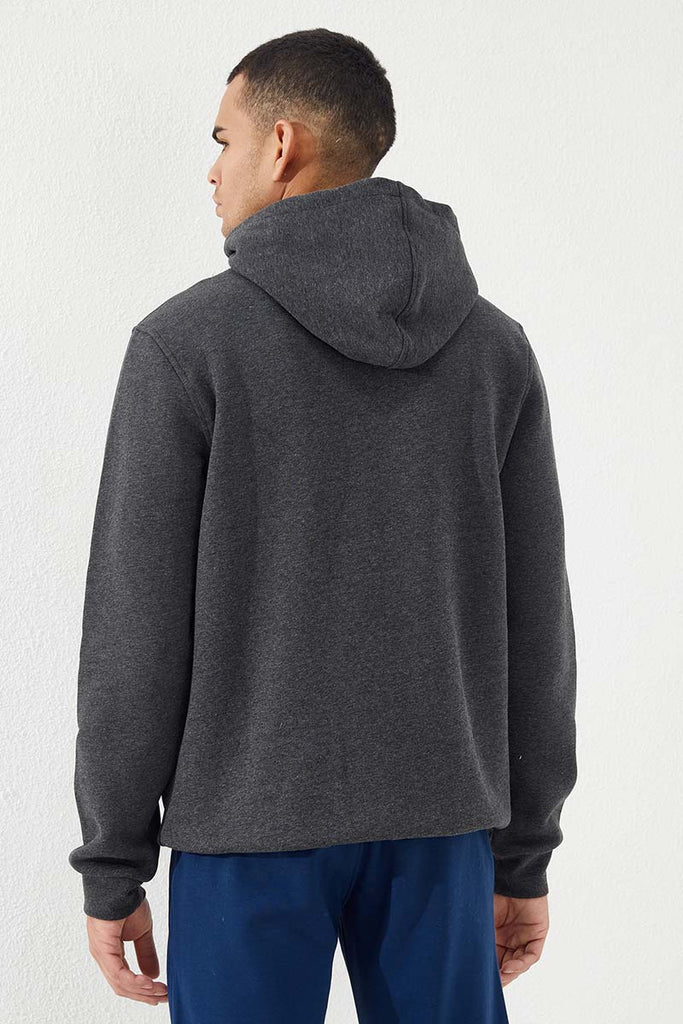 Men's Embroidered Zipper Pocket Anthracite Melange Sweatshirt