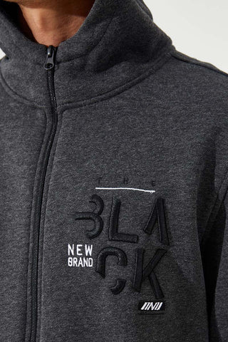 Image of Men's Embroidered Zipper Pocket Anthracite Melange Sweatshirt