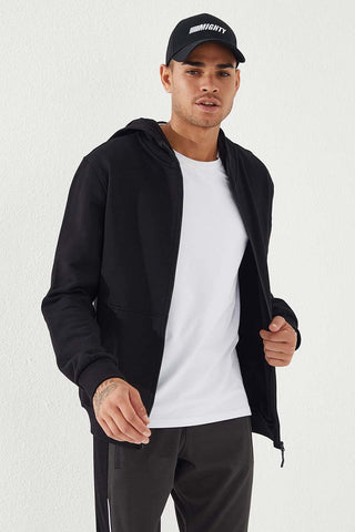 Image of Men's Hooded Zipped Classic Black Sweatshirt