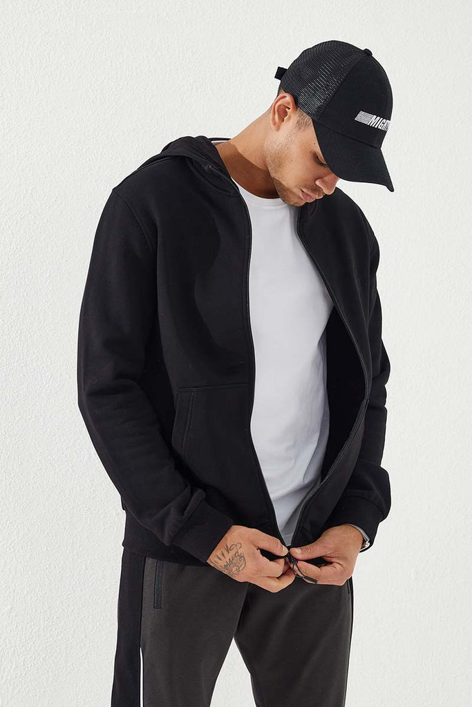 Men's Hooded Zipped Classic Black Sweatshirt