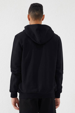 Image of Men's Embroidered Zipped Pocket Black Sweatshirt