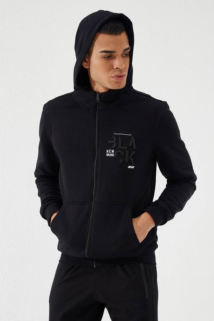 Men's Embroidered Zipped Pocket Black Sweatshirt