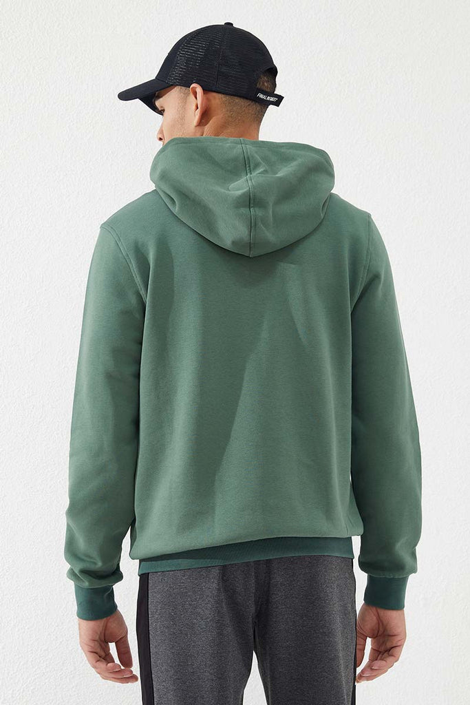 Men's Embroidered Zipper Pocket Green Sweatshirt