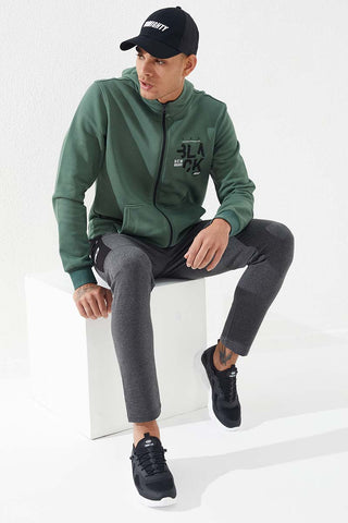 Image of Men's Embroidered Zipper Pocket Green Sweatshirt