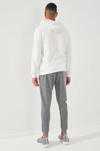 Image of Men's Embroidered Grey Melange Sport Pants