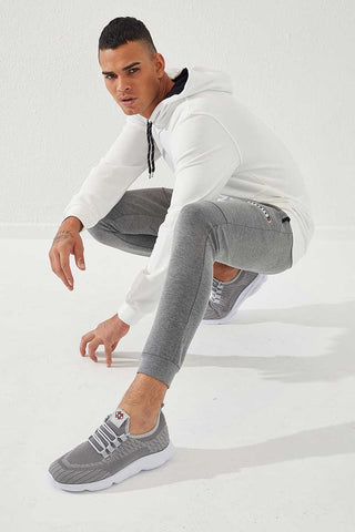Men's Embroidered Grey Melange Sport Pants