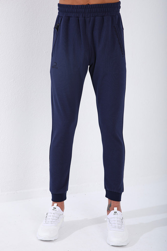 Men's Embroidered Pocket Indigo Sport Pants