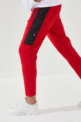 Men's Embroidered Red Scuba Fabric Sport Pants