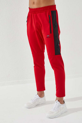 Image of Men's Embroidered Red Scuba Fabric Sport Pants