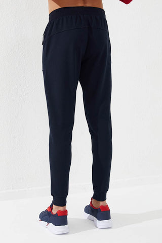 Men's Embroidered Pocket Navy Blue Sport Pants