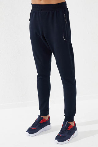 Image of Men's Embroidered Pocket Navy Blue Sport Pants