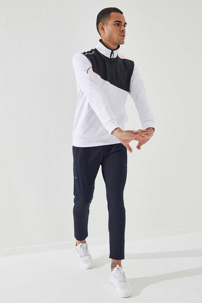 Men's Embroidered Navy Blue Scuba Fabric Sport Pants