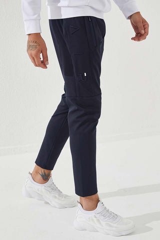 Image of Men's Embroidered Navy Blue Scuba Fabric Sport Pants