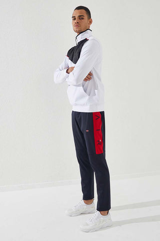 Image of Men's Embroidered Navy Blue - Red Scuba Fabric Sport Pants
