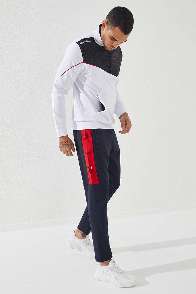 Men's Embroidered Navy Blue - Red Scuba Fabric Sport Pants