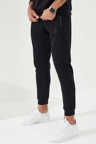 Men's Zipped Pocket Embroidered Black Sport Pants