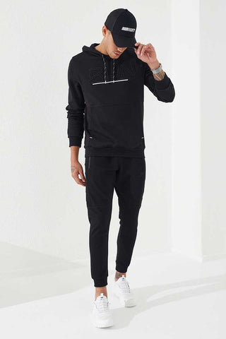 Image of Men's Zipped Pocket Embroidered Black Sport Pants