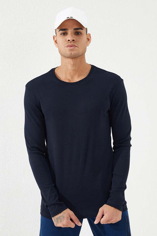 Image of Men's Crew Neck Basic Navy Blue Sweatshirt