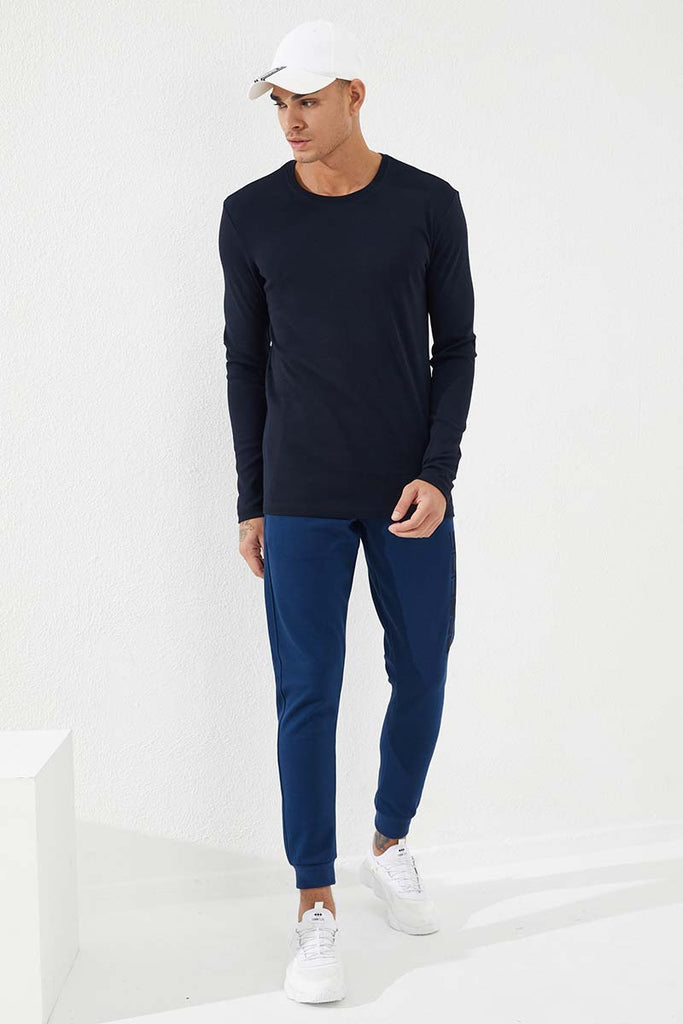 Men's Crew Neck Basic Navy Blue Sweatshirt