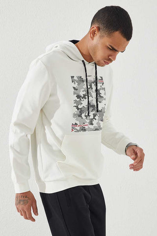 Image of Men's Hooded Camo Print Ecru Sweatshirt