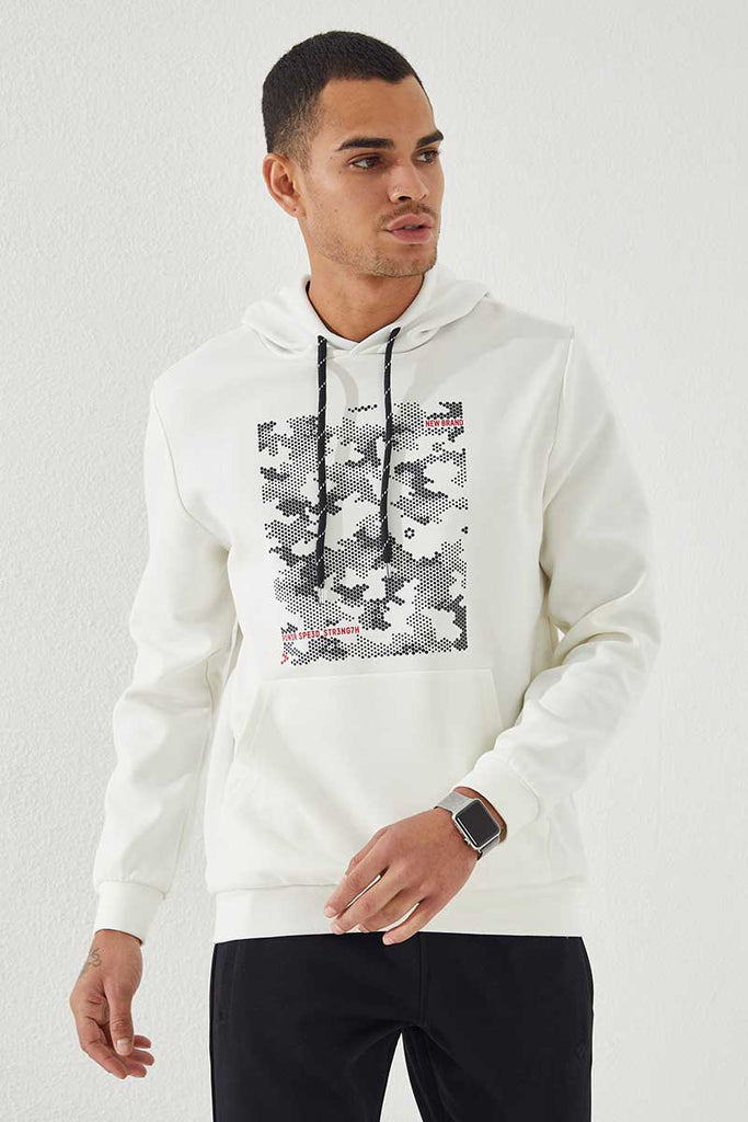 Men's Hooded Camo Print Ecru Sweatshirt