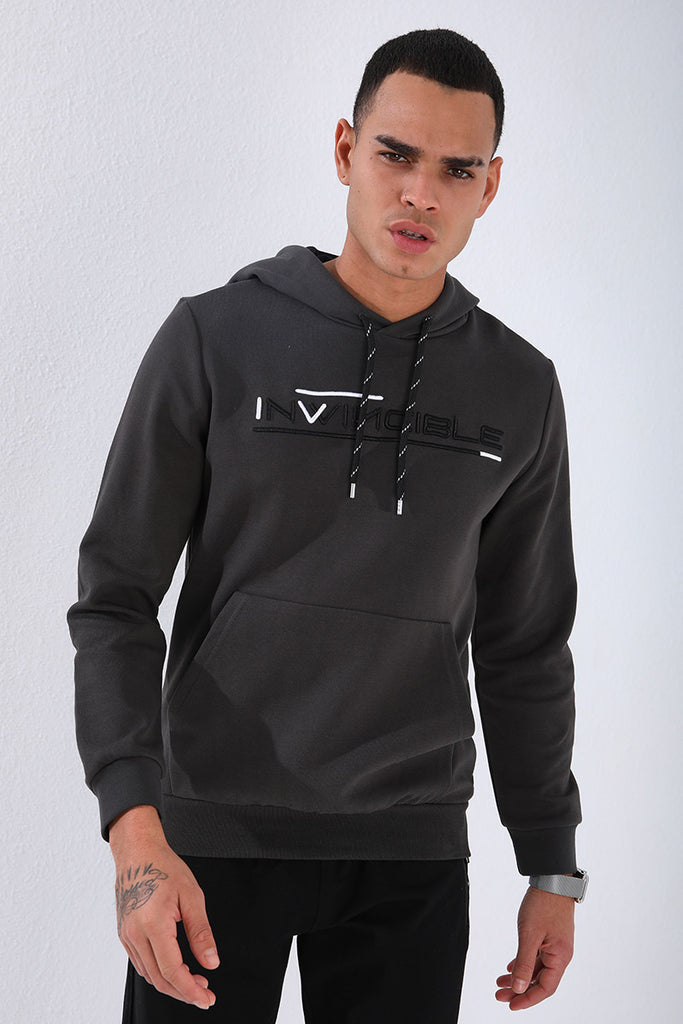 Men's Embroidered Kangaroo Pocket Sweatshirt