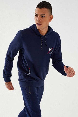 Image of Men's Hooded Embroidered Pocket Indigo Sweatshirt