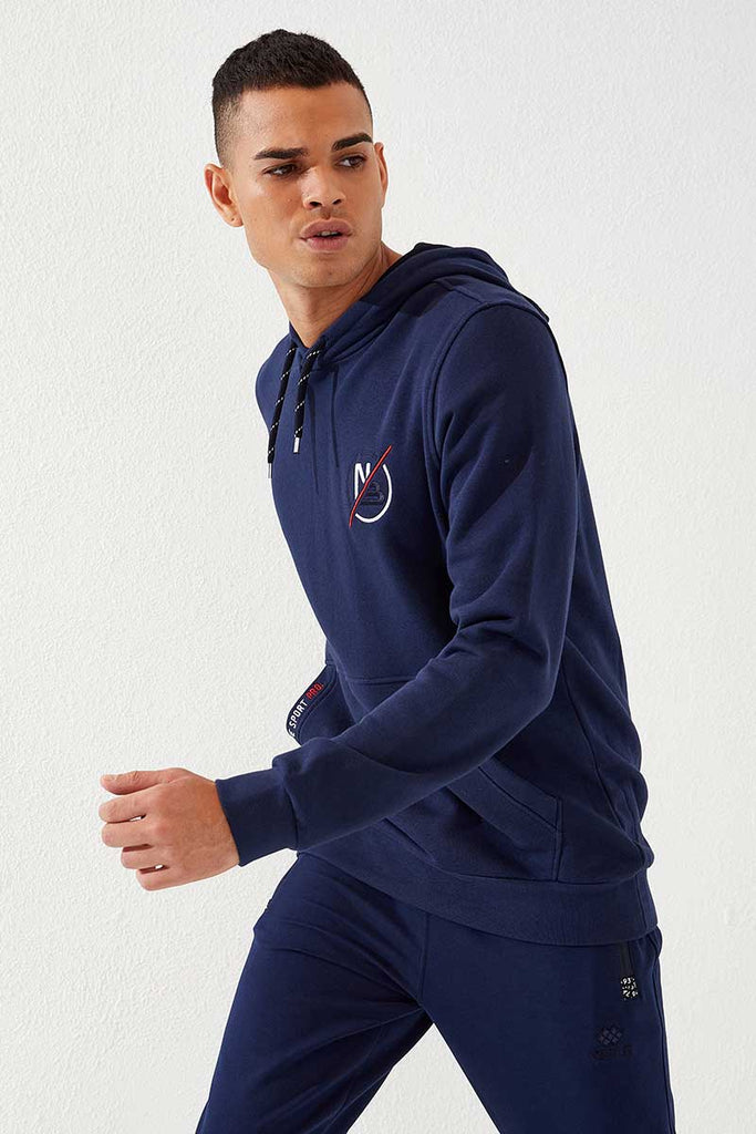 Men's Hooded Embroidered Pocket Indigo Sweatshirt