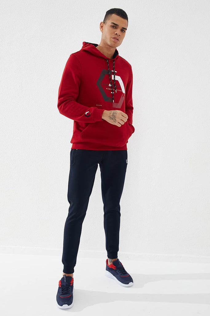Men's Hooded Embroidered Pocket Red Sweatshirt