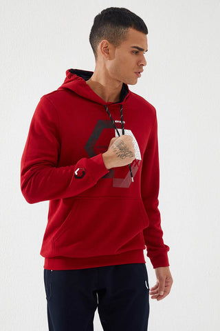 Image of Men's Hooded Embroidered Pocket Red Sweatshirt
