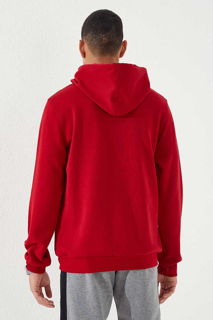 Men's Hooded Embroidered Red Sweatshirt