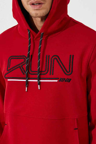 Image of Men's Hooded Embroidered Red Sweatshirt