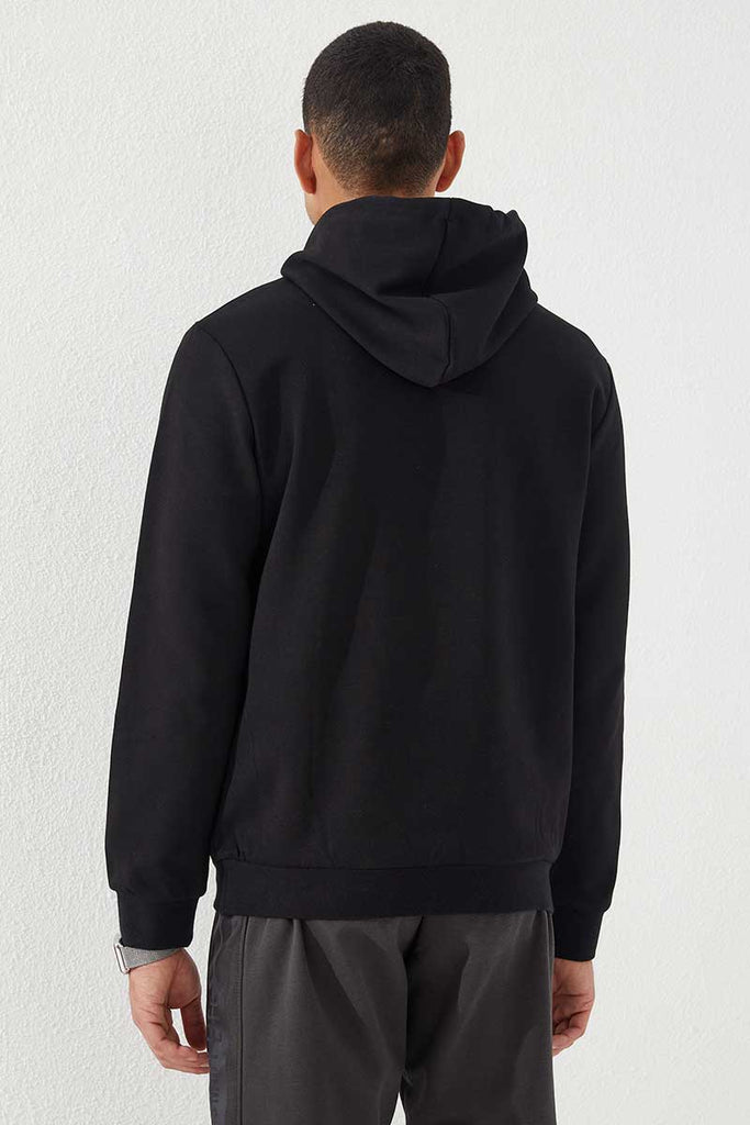 Men's Hooded Embroidered Black Sweatshirt