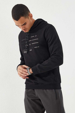 Image of Men's Hooded Embroidered Black Sweatshirt