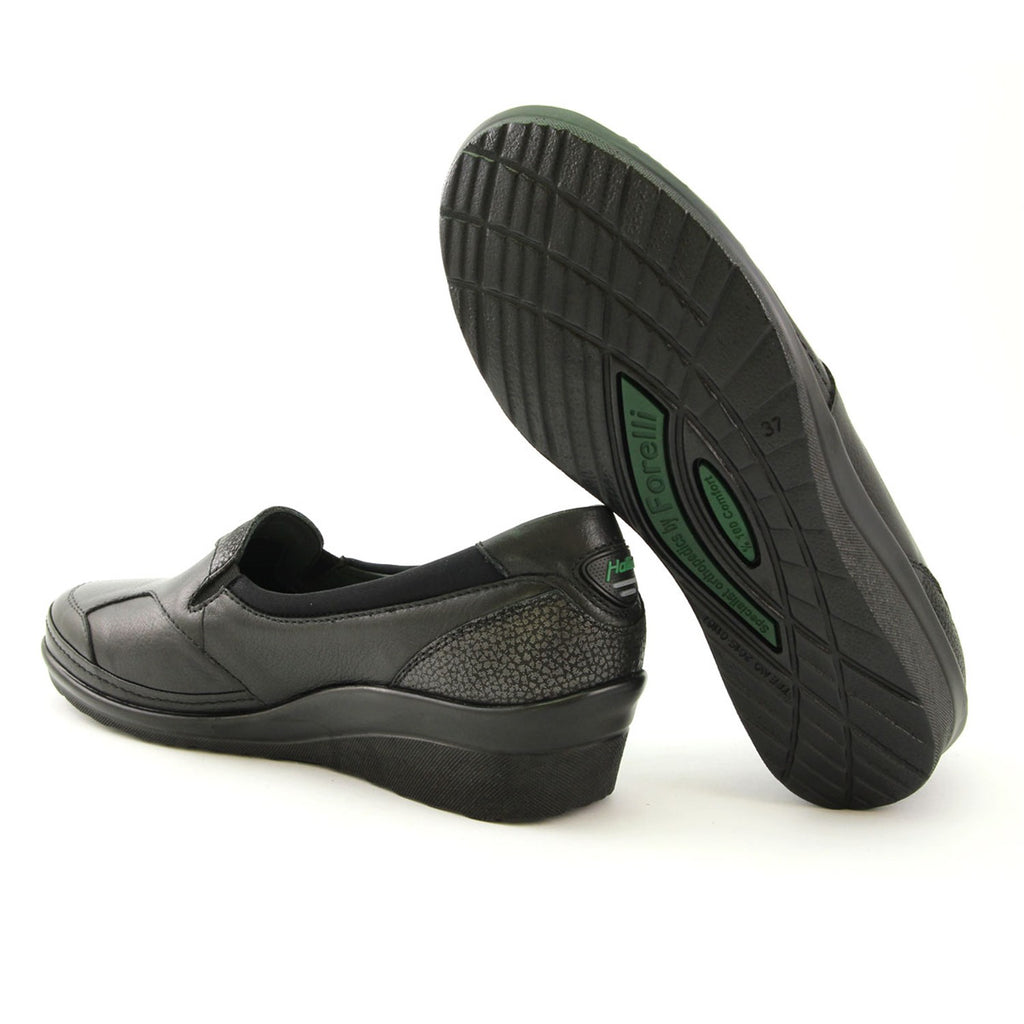 Women's Black Leather Comfort Shoes