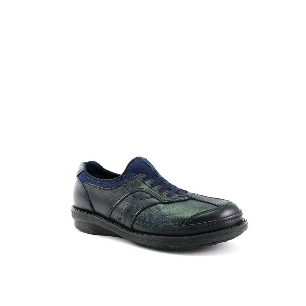 Women's Navy Blue Leather Comfort Shoes
