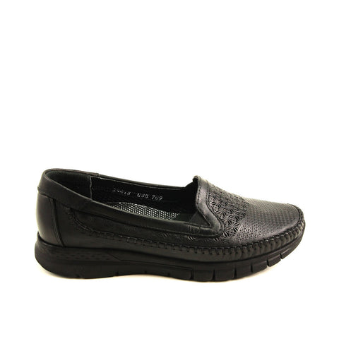 Image of Women's Black Leather Anatomic Shoes
