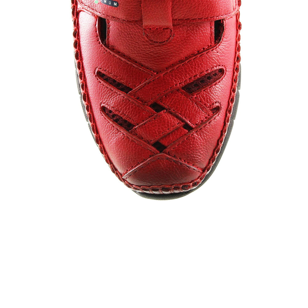 Women's Claret Red Leather Comfort Shoes