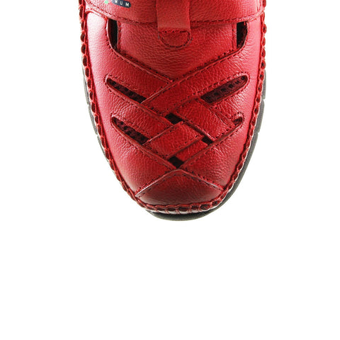 Image of Women's Claret Red Leather Comfort Shoes