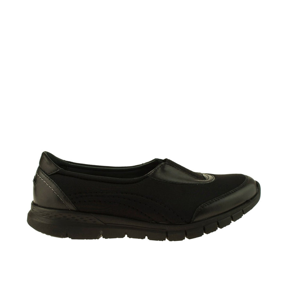 Women's Black Leather Stretch Shoes